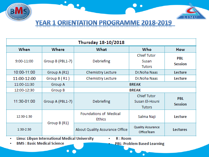 Orientation Week Table For The BMS Faculty First Year Students